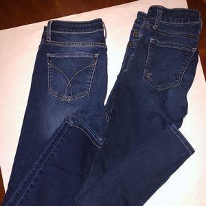 Kut & Calvin Klein dark wash denim. Skinny fit.